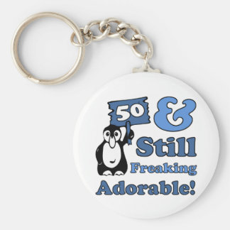 Cute 50th Birthday For Women Basic Round Button Key Ring