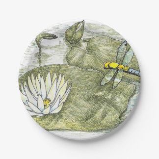 """Cute 7"""" Dragonfly & Lilly Pad Flower Paper Plates 7 Inch Paper Plate"""