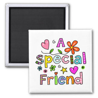 Cute A Special Friend Greeting Text Expression Square Magnet