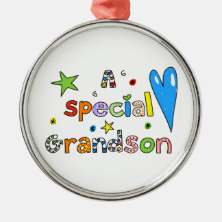 Cute A Special Grandson Greeting Text Expression Metal Ornament