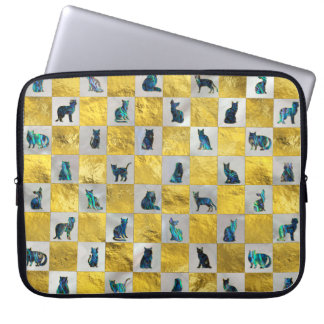 Cute Abalone Shell  Cat Pattern with gold Laptop Sleeve