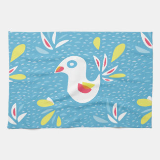 Cute Abstract Bird In Spring Tea Towel