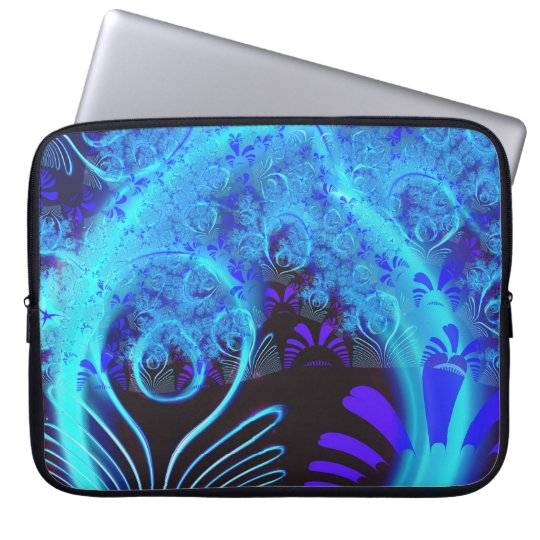 Cute Abstract Blue Floral Nature Pattern Fine Art Laptop Sleeve
