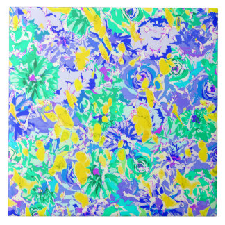 Cute abstract colorful spring flowers ceramic tile