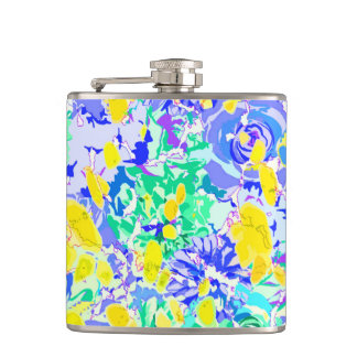 Cute abstract colorful spring flowers hip flask