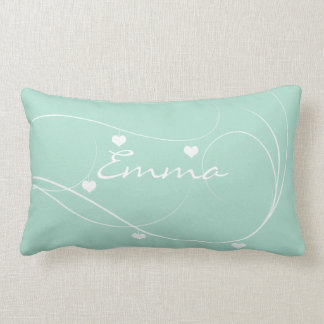 Cute Abstract Hearts Garland Add Name Mint Pillow
