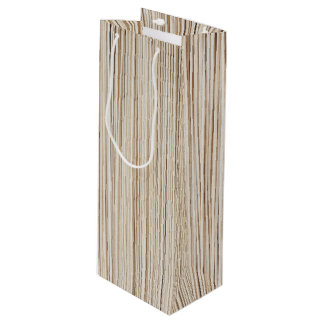 Cute abstract wood lines design wine gift bag