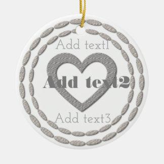 Cute Add Text Magic Silver Heart White Christmas Ceramic Ornament