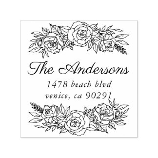 Cute address stamp with wreath of roses