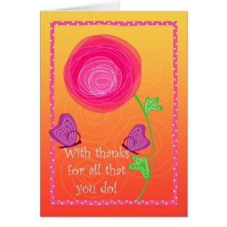 Cute Admin Pro Flowers Butterflies Pink Orange Card