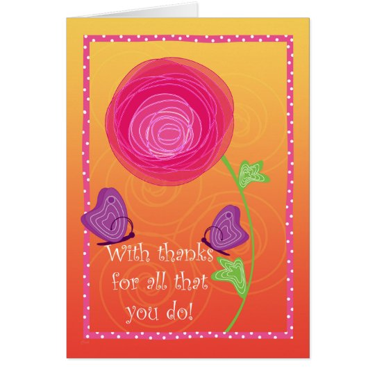 Cute Admin Pro Flowers Butterflies Pink Orange Card