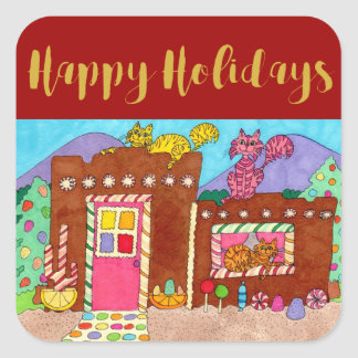 Cute Adobe Gingerbread House & Cats Holiday Square Sticker