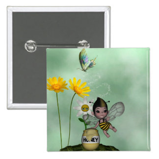 Cute Adorable Baby Bumble Bee Honey 15 Cm Square Badge