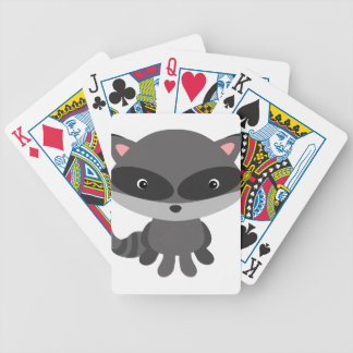 Cute, adorable baby raccoon bicycle playing cards