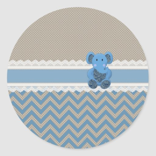 Cute adorable blue Paisleys elephant white lace Sticker
