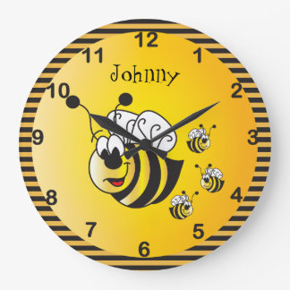 Cute Adorable Bumble Bees with a Golden Yellow Wallclock