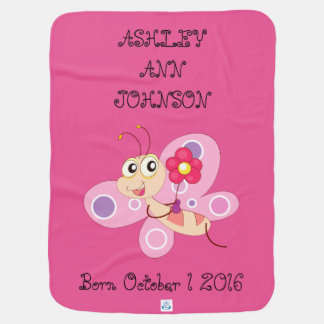 Cute Adorable Colorful Butterfly Personalized Pram blanket