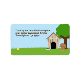 Cute adorable doggie house avery address label