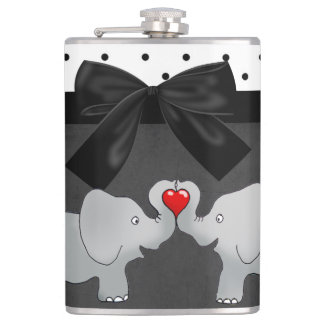 Cute Adorable Elephants,Polka Dots,Black Bow Hip Flask