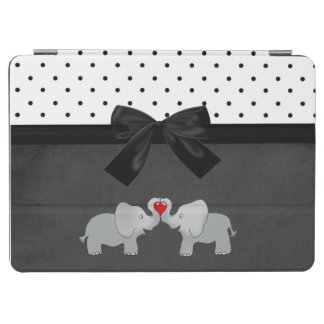 Cute Adorable Elephants,Polka Dots,Black Bow iPad Air Cover