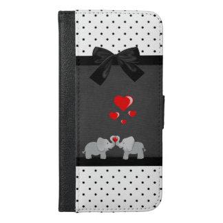 Cute Adorable Elephants,Polka Dots,Black Bow iPhone 6/6s Plus Wallet Case