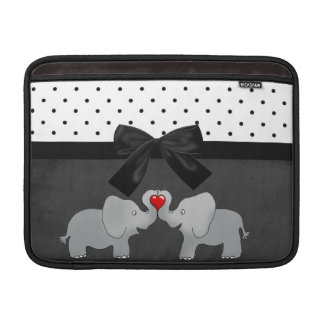 Cute Adorable Elephants,Polka Dots,Black Bow MacBook Sleeve