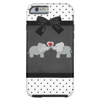 Cute Adorable Elephants,Polka Dots,Black Bow Tough iPhone 6 Case