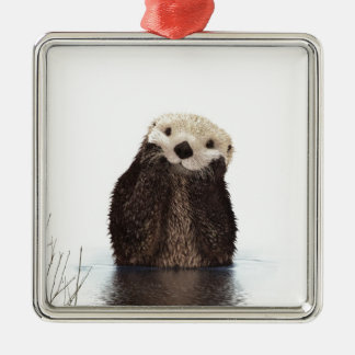 Cute adorable fluffy otter animal metal ornament