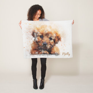 Cute Adorable Fluffy Puppy Fleece Blanket