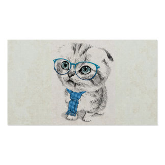 Cute adorable funny trendy kitten animal sketch pack of standard business cards