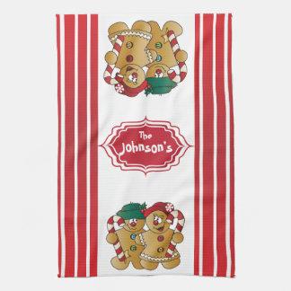 Cute Adorable Gingerbread Couple Tea Towel