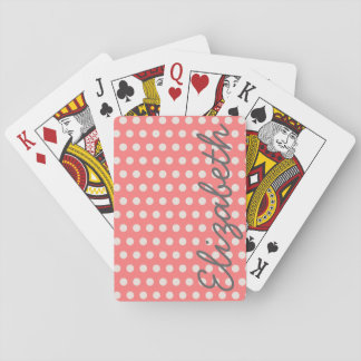 Cute adorable girly bubble gum pink  polka dots playing cards