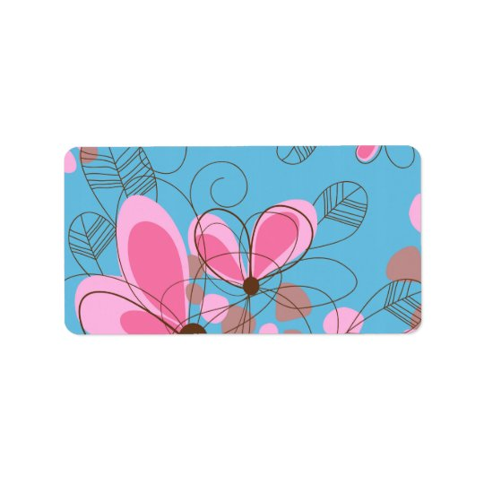 Cute adorable girly trendy hand painted flowers label