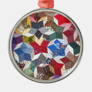 Cute adorable girly vintage patched quilt stars metal ornament