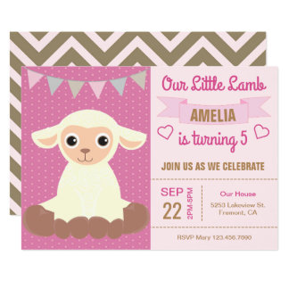 Cute Adorable Lamb Kids Birthday Party Invitation