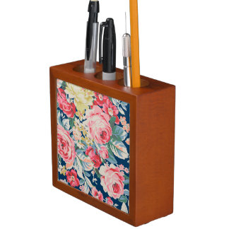 Cute Adorable Modern Blooming Flowers Desk Organiser