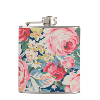 Cute Adorable Modern Blooming Flowers Hip Flask