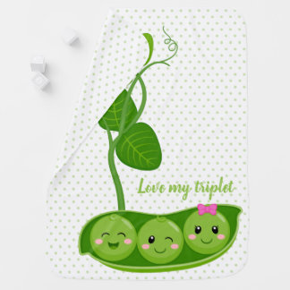 Cute adorable peas - choose background color baby blanket