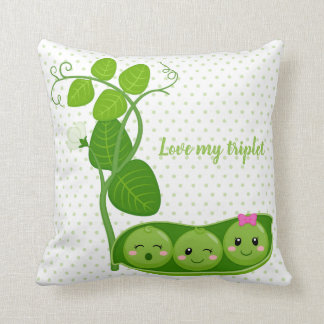 Cute adorable peas - choose background color cushion