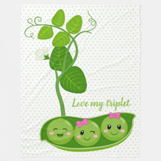 Cute adorable peas - choose background color fleece blanket