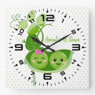 Cute adorable peas - choose background color square wall clock