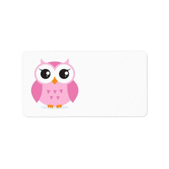 Cute adorable pink owl animal cartoon for kids address label