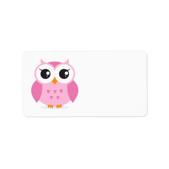 Cute adorable pink owl animal cartoon for kids label