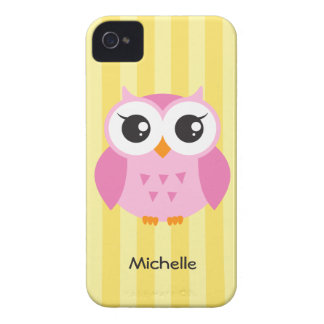 Cute adorable pink owl animal cartoon yellow name iPhone 4 covers