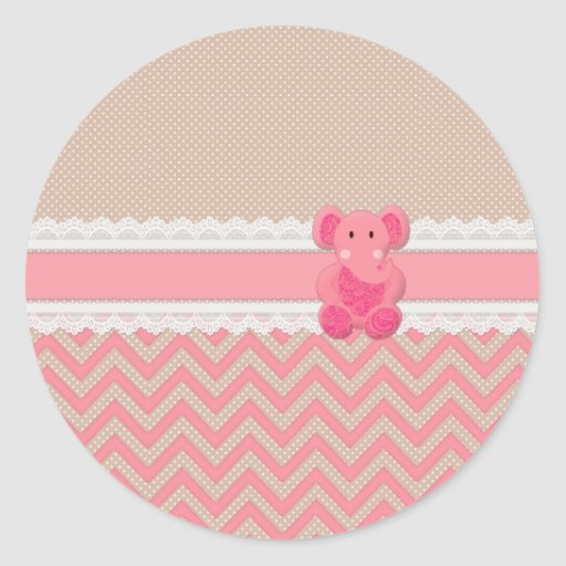 Cute adorable pink Paisleys elephant white lace Round Sticker