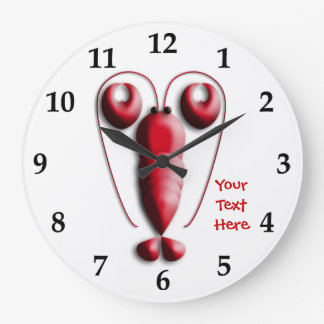 Cute Adorable Red Lobster Heart-Shaped Pincers Large Clock