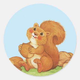 Cute Adorable Squirrel Nuts Classic Round Sticker