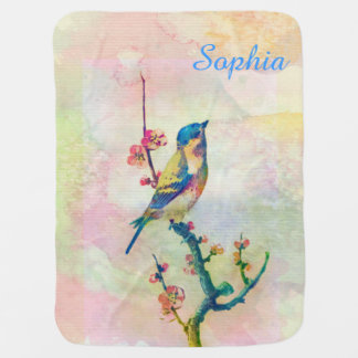 Cute adorable vintage watercolours bird floral baby blanket