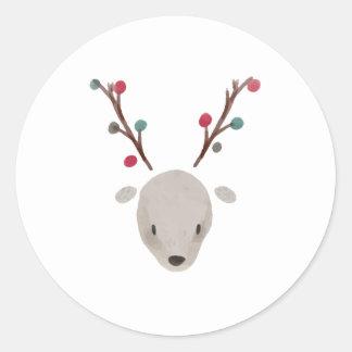 Cute Adorable Watercolor Deer Reindeer Classic Round Sticker