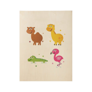 Cute africa Animals : wood Poster